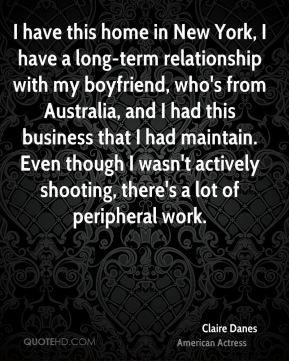 I have this home in New York, I have a long-term relationship with my boyfriend, who's from Australia, and I had this business that I had maintain. Even though I wasn't actively shooting, there's a lot of peripheral work.
