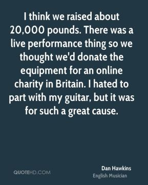 I think we raised about 20,000 pounds. There was a live performance thing so we thought we'd donate the equipment for an online charity in Britain. I hated to part with my guitar, but it was for such a great cause.