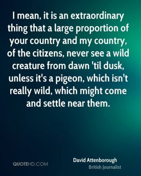 I mean, it is an extraordinary thing that a large proportion of your country and my country, of the citizens, never see a wild creature from dawn 'til dusk, unless it's a pigeon, which isn't really wild, which might come and settle near them.