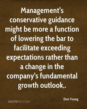 Don Young - Management's conservative guidance might be more a function of lowering the bar to facilitate exceeding expectations rather than a change in the company's fundamental growth outlook.