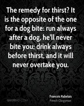 Francois Rabelais - The remedy for thirst? It is the opposite of the one for a dog bite: run always after a dog, he'll never bite you; drink always before thirst, and it will never overtake you.