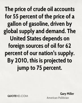Gary Miller - The price of crude oil accounts for 55 percent of the price of a gallon of gasoline, driven by global supply and demand. The United States depends on foreign sources of oil for 62 percent of our nation's supply. By 2010, this is projected to jump to 75 percent.