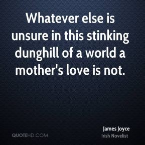 James Joyce - Whatever else is unsure in this stinking dunghill of a world a mother's love is not.
