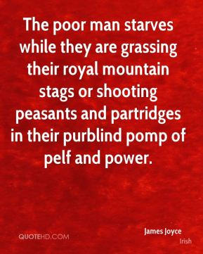 James Joyce - The poor man starves while they are grassing their royal mountain stags or shooting peasants and partridges in their purblind pomp of pelf and power.
