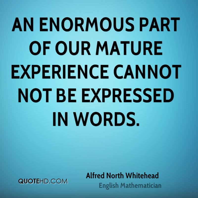 An enormous part of our mature experience cannot not be expressed in words.