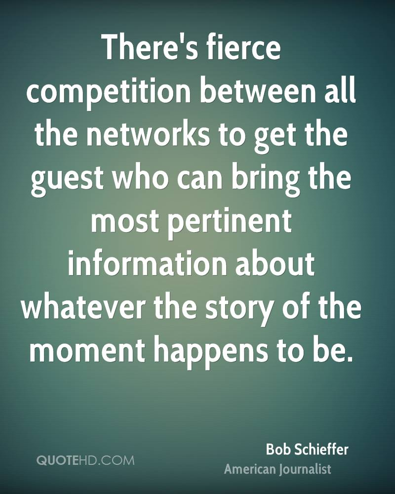 There's fierce competition between all the networks to get the guest who can bring the most pertinent information about whatever the story of the moment happens to be.