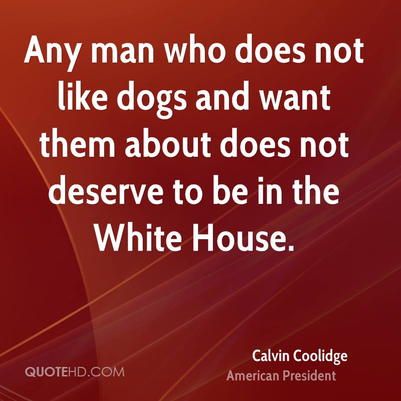 Any man who does not like dogs and want them about does not deserve to be in the White House.