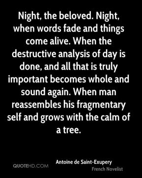 Night, the beloved. Night, when words fade and things come alive. When the destructive analysis of day is done, and all that is truly important becomes whole and sound again. When man reassembles his fragmentary self and grows with the calm of a tree.
