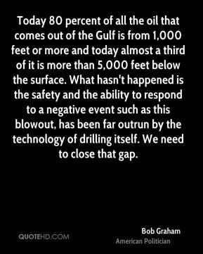 Today 80 percent of all the oil that comes out of the Gulf is from 1,000 feet or more and today almost a third of it is more than 5,000 feet below the surface. What hasn't happened is the safety and the ability to respond to a negative event such as this blowout, has been far outrun by the technology of drilling itself. We need to close that gap.