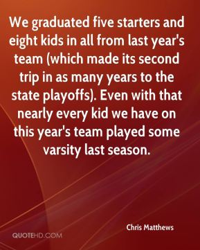 Chris Matthews - We graduated five starters and eight kids in all from last year's team (which made its second trip in as many years to the state playoffs). Even with that nearly every kid we have on this year's team played some varsity last season.