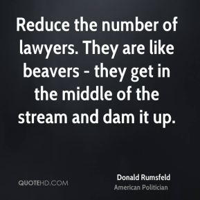 Donald Rumsfeld - Reduce the number of lawyers. They are like beavers - they get in the middle of the stream and dam it up.