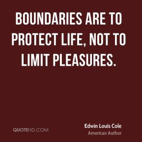 Edwin Louis Cole - Boundaries are to protect life, not to limit pleasures.