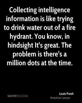 Louis Freeh - Collecting intelligence information is like trying to drink water out of a fire hydrant. You know, in hindsight It's great. The problem is there's a million dots at the time.