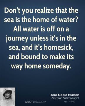 Zora Neale Hurston  - Don't you realize that the sea is the home of water? All water is off on a journey unless it's in the sea, and it's homesick, and bound to make its way home someday.