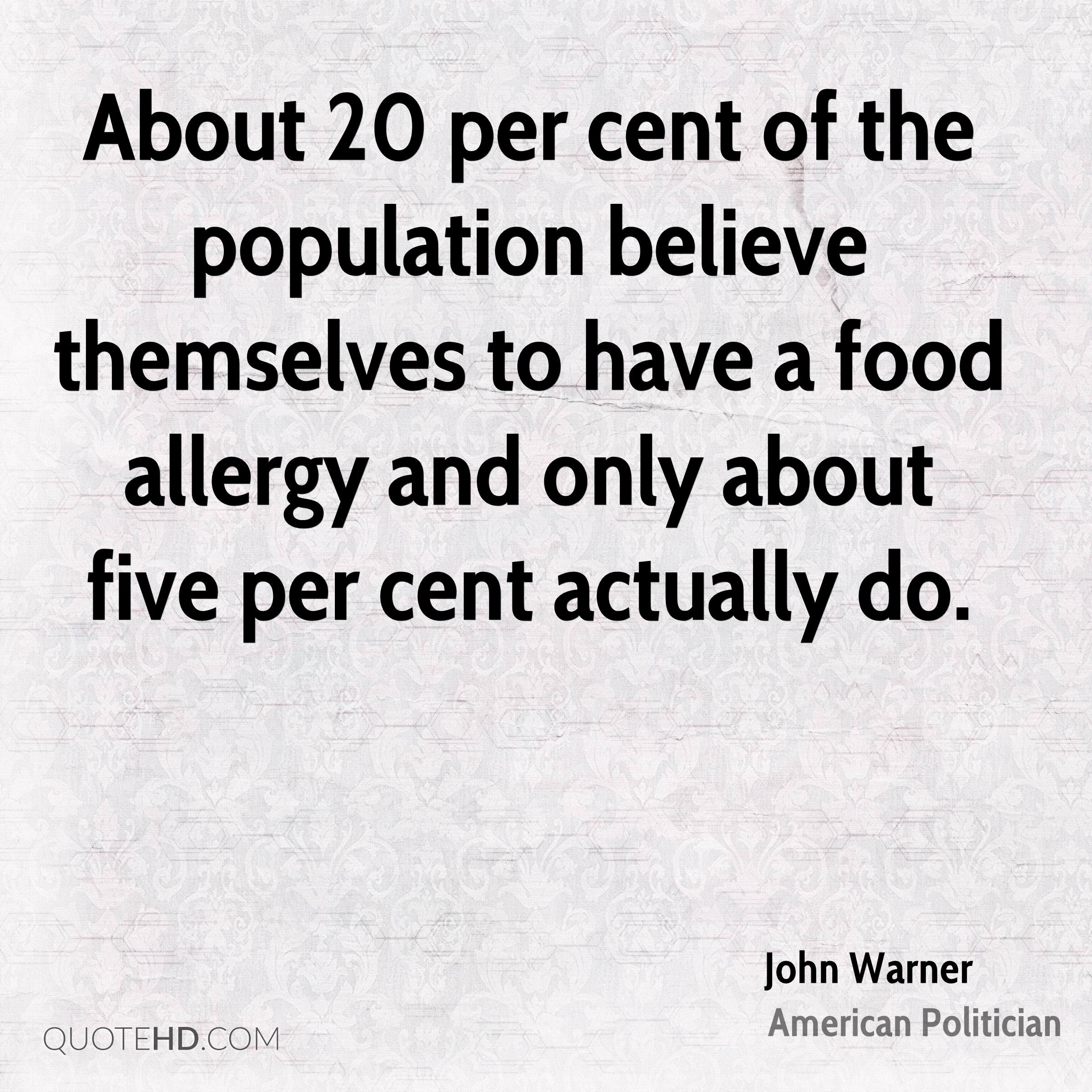 About 20 per cent of the population believe themselves to have a food allergy and only about five per cent actually do.