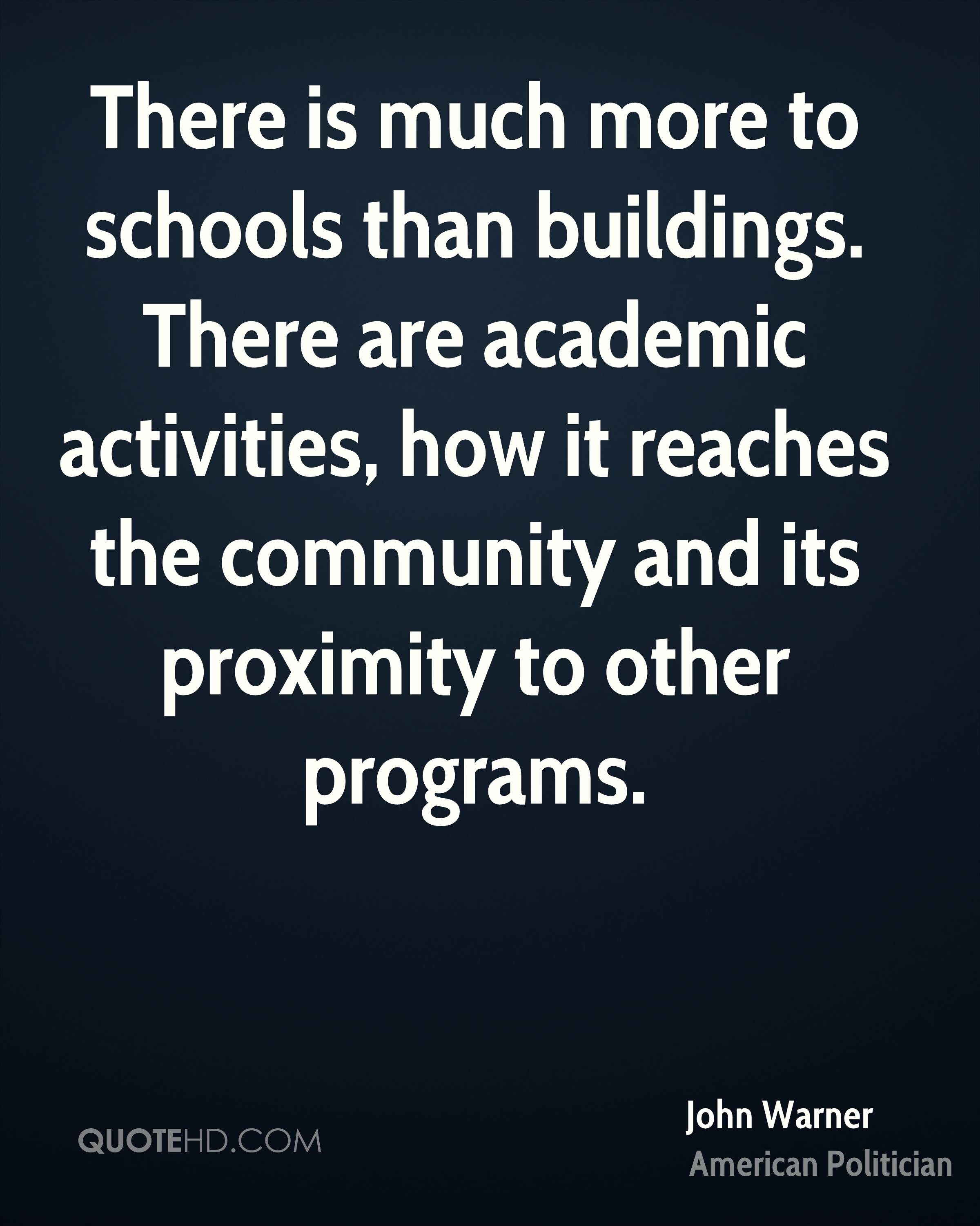 There is much more to schools than buildings. There are academic activities, how it reaches the community and its proximity to other programs.