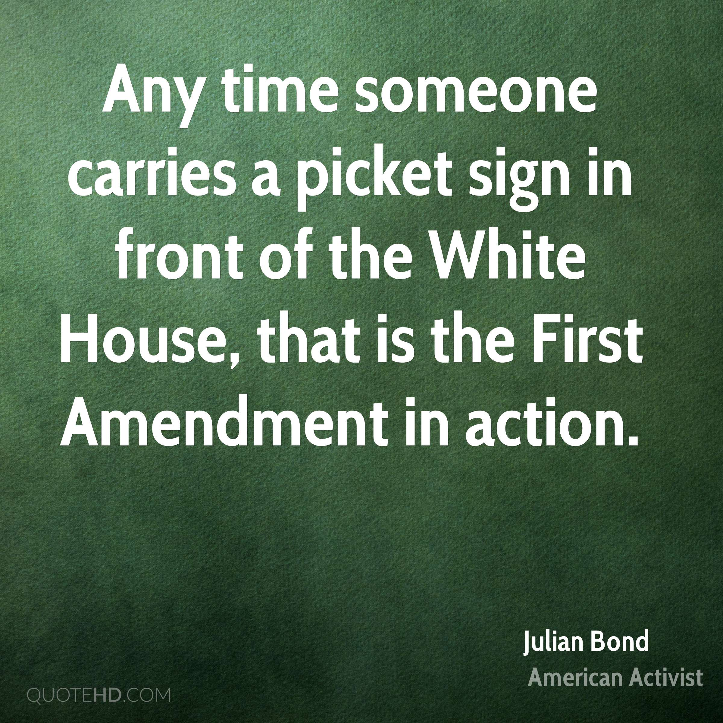 Any time someone carries a picket sign in front of the White House, that is the First Amendment in action.