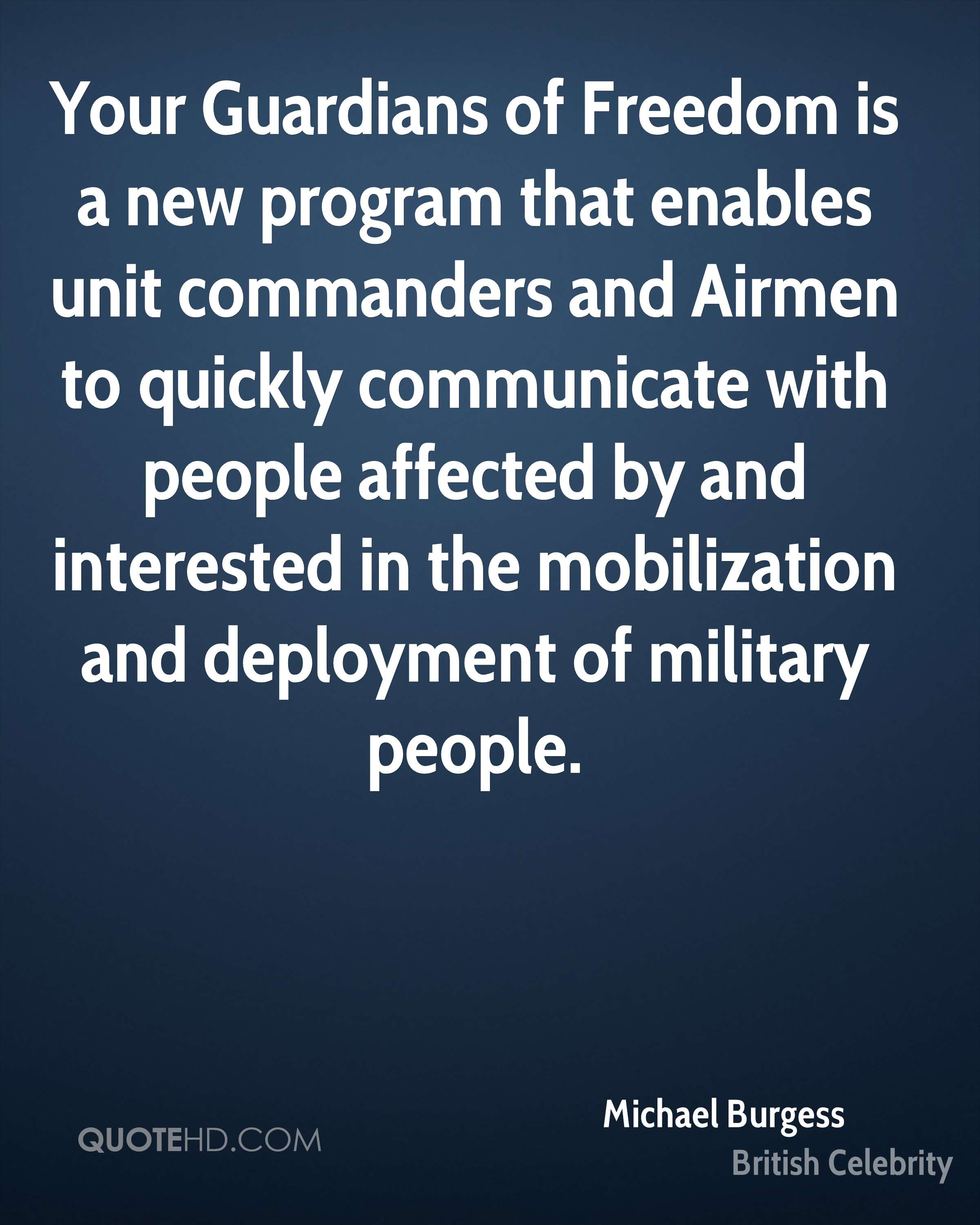 Your Guardians of Freedom is a new program that enables unit commanders and Airmen to quickly communicate with people affected by and interested in the mobilization and deployment of military people.