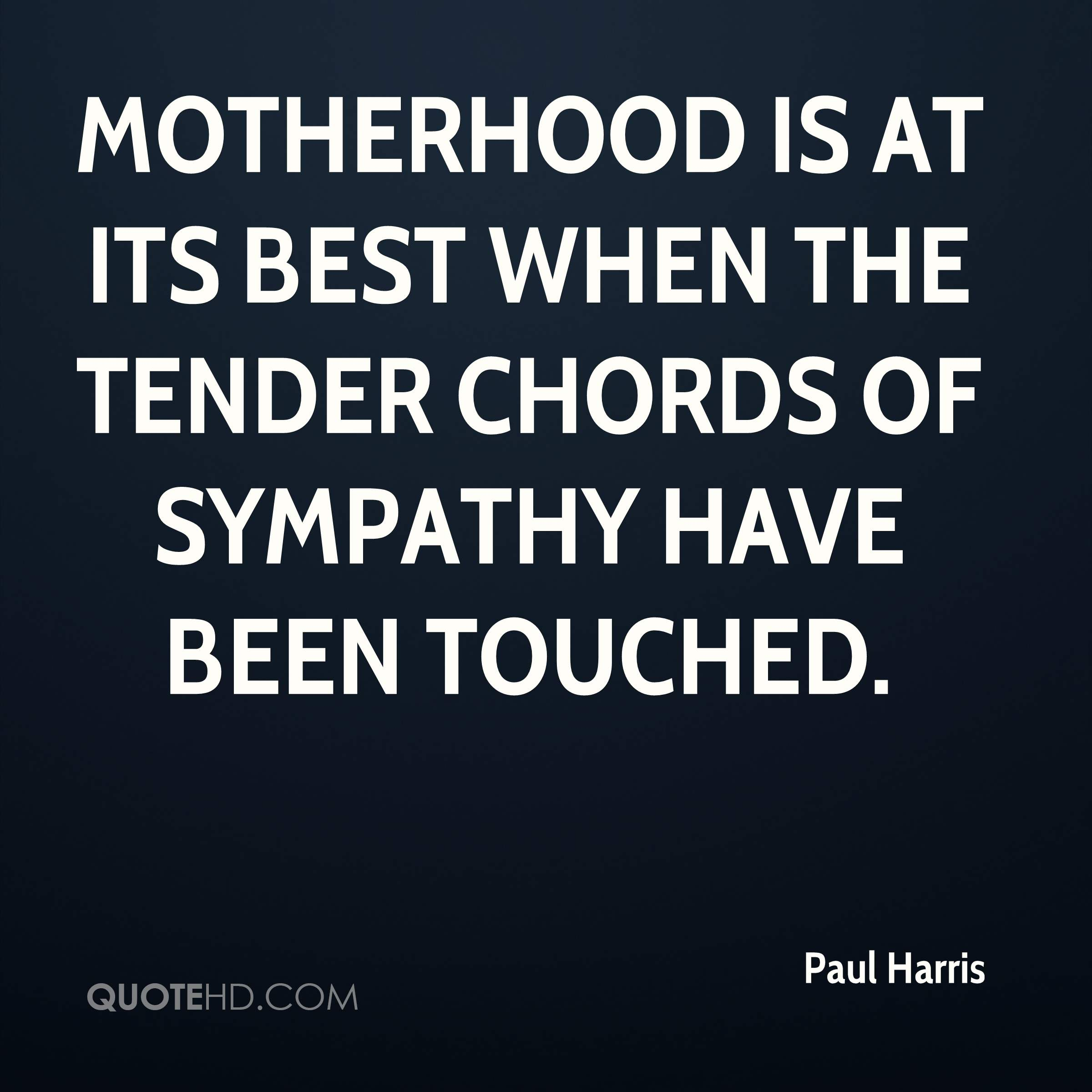 Motherhood is at its best when the tender chords of sympathy have been touched.