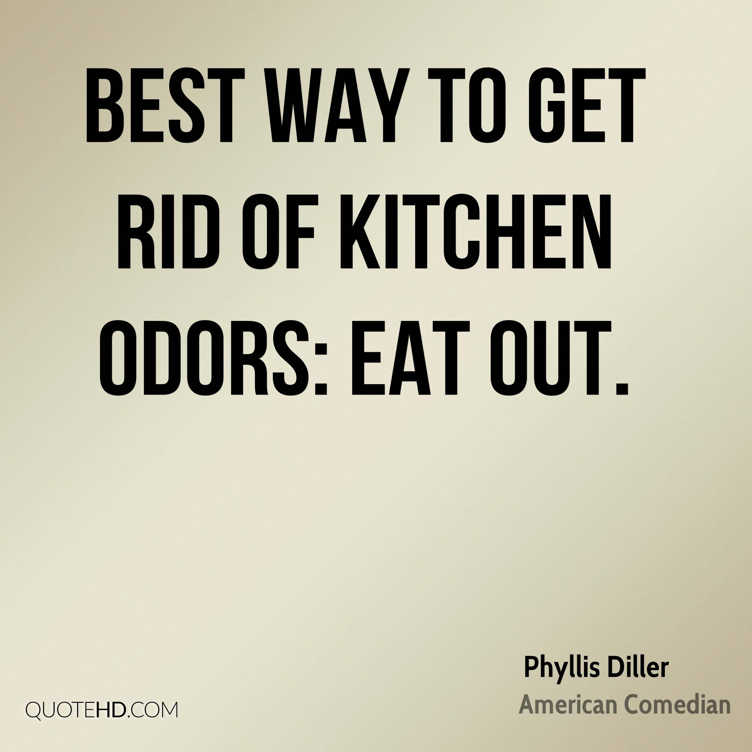 Best way to get rid of kitchen odors: Eat out.