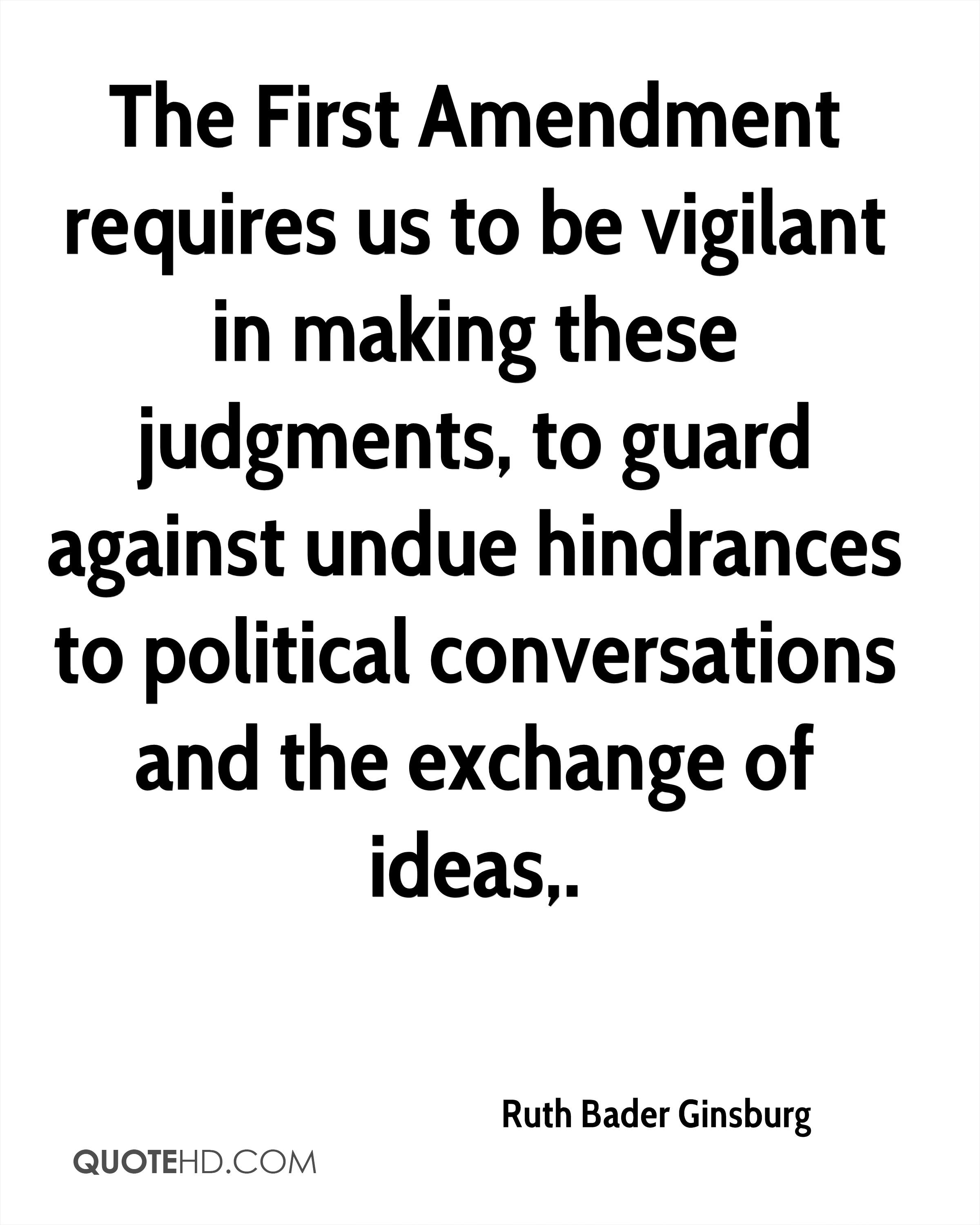 The First Amendment requires us to be vigilant in making these judgments, to guard against undue hindrances to political conversations and the exchange of ideas.