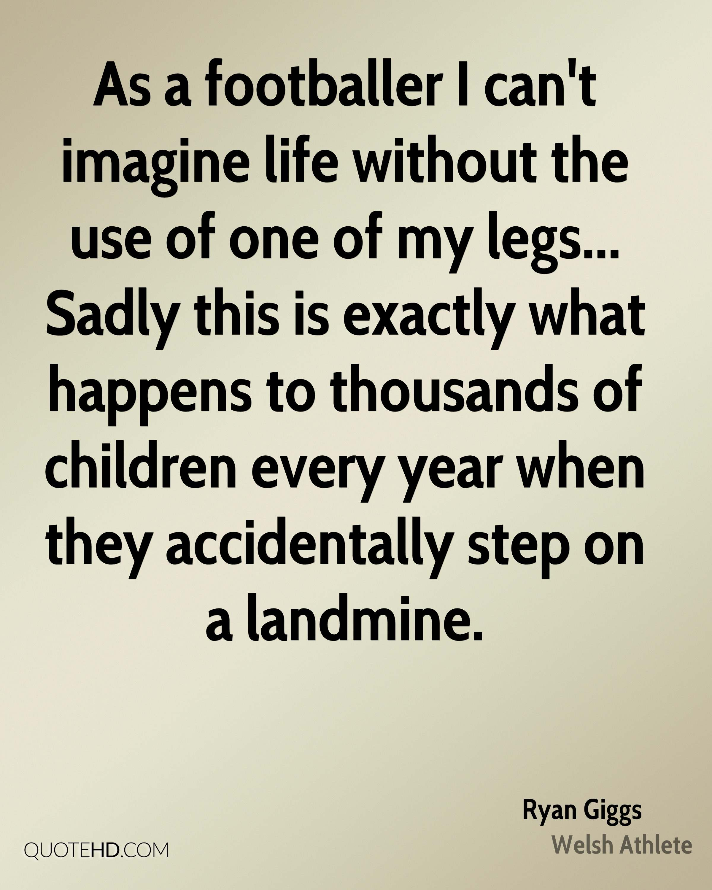 As a footballer I can't imagine life without the use of one of my legs... Sadly this is exactly what happens to thousands of children every year when they accidentally step on a landmine.
