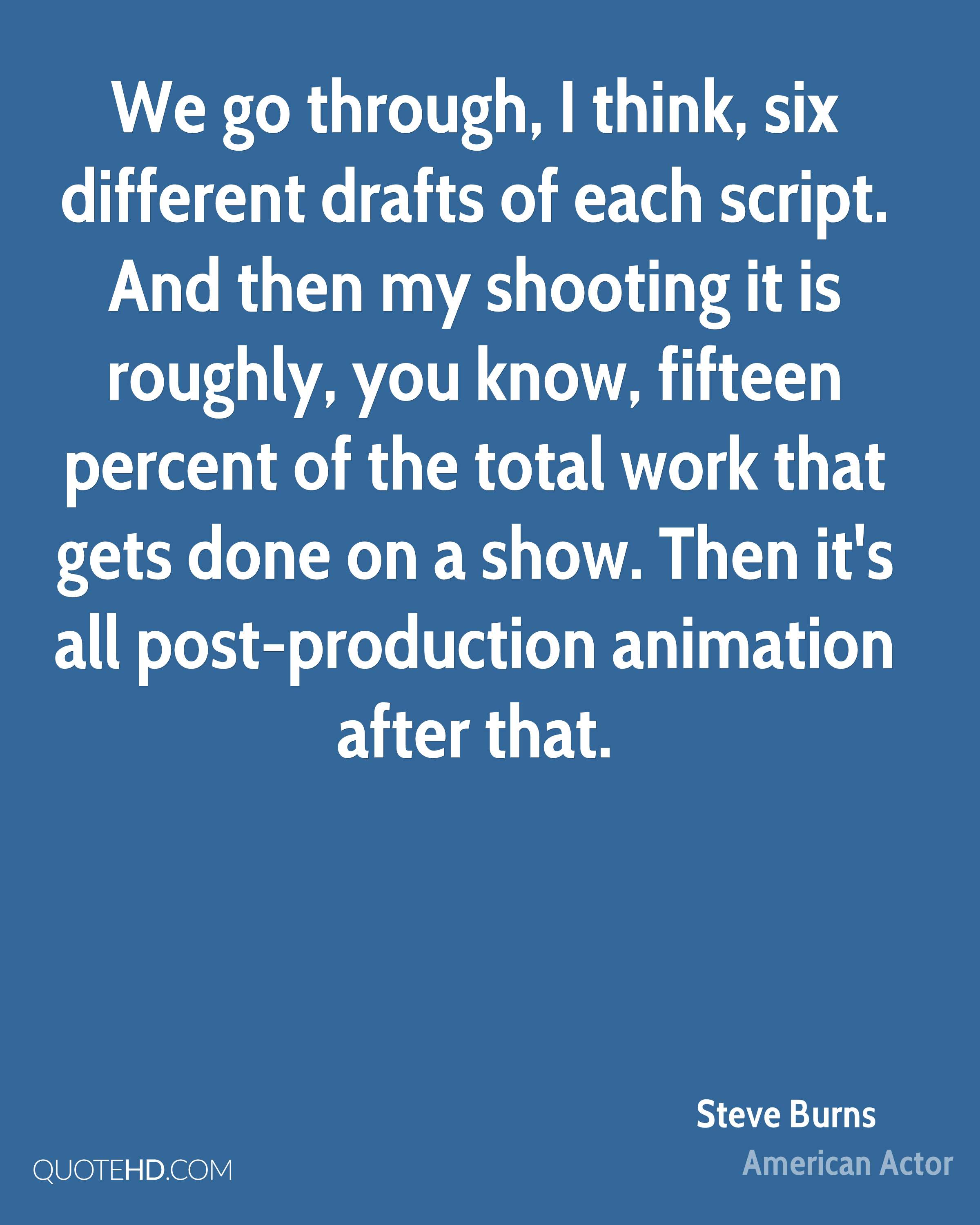 We go through, I think, six different drafts of each script. And then my shooting it is roughly, you know, fifteen percent of the total work that gets done on a show. Then it's all post-production animation after that.