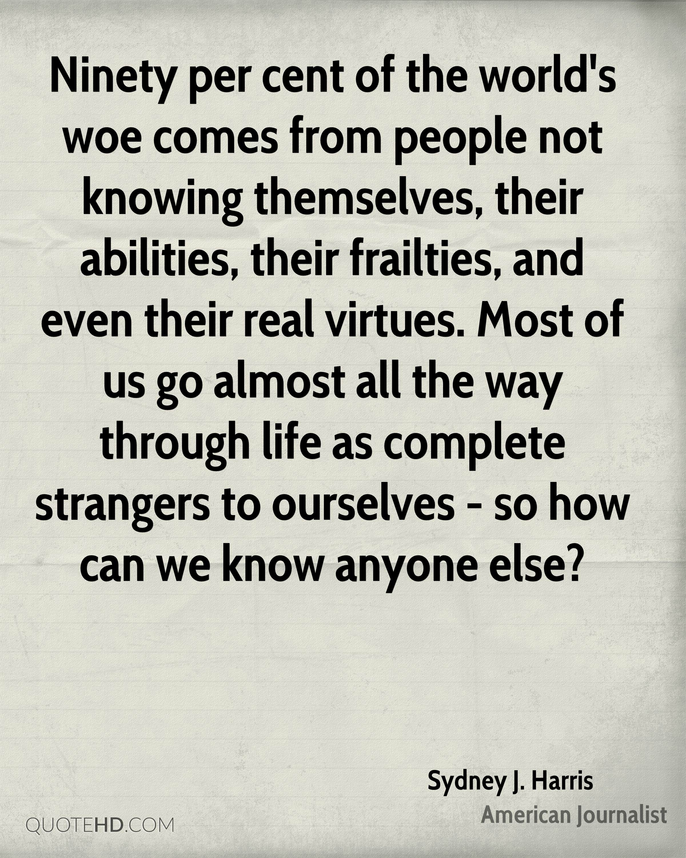Ninety per cent of the world's woe comes from people not knowing themselves, their abilities, their frailties, and even their real virtues. Most of us go almost all the way through life as complete strangers to ourselves - so how can we know anyone else?