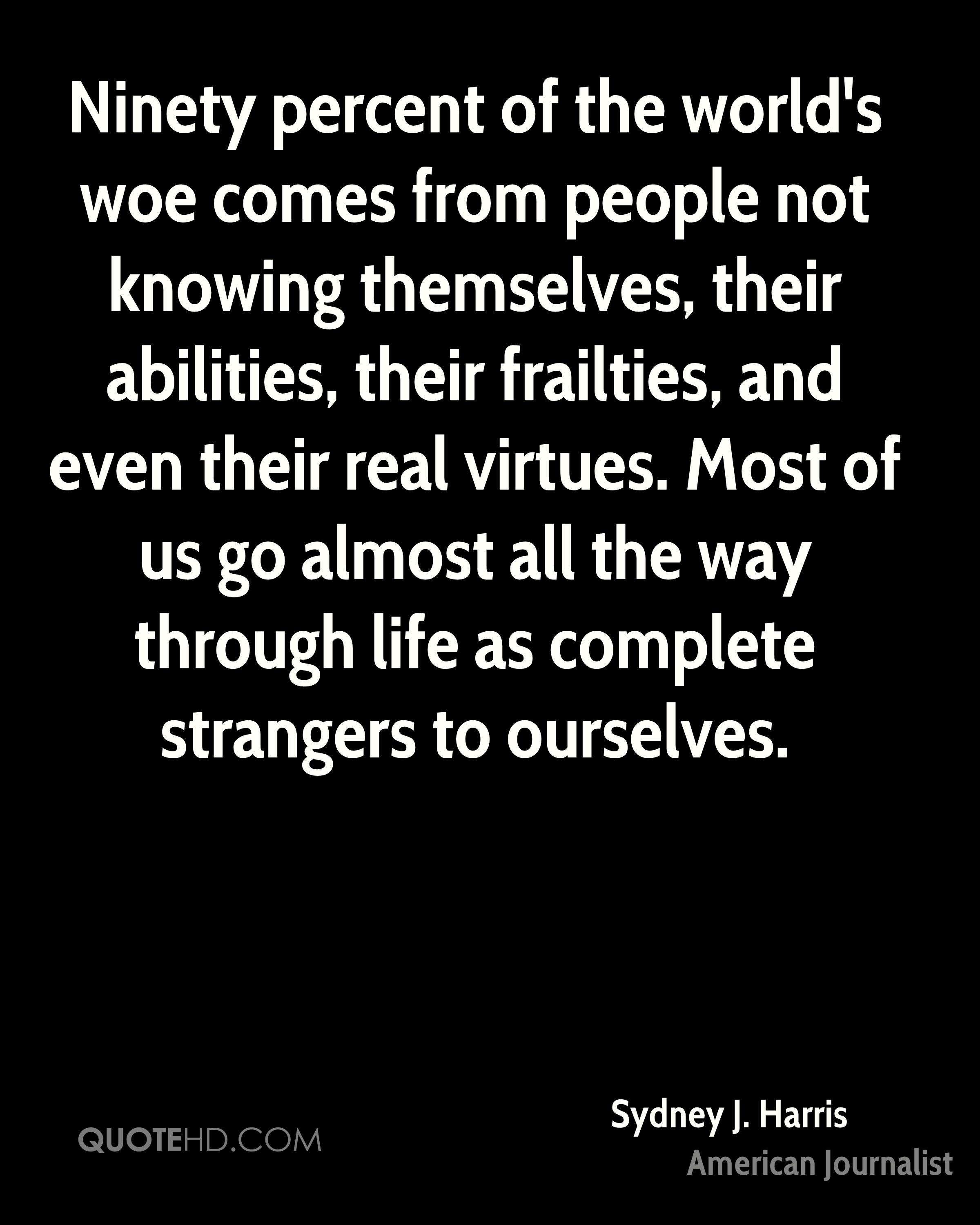 Ninety percent of the world's woe comes from people not knowing themselves, their abilities, their frailties, and even their real virtues. Most of us go almost all the way through life as complete strangers to ourselves.