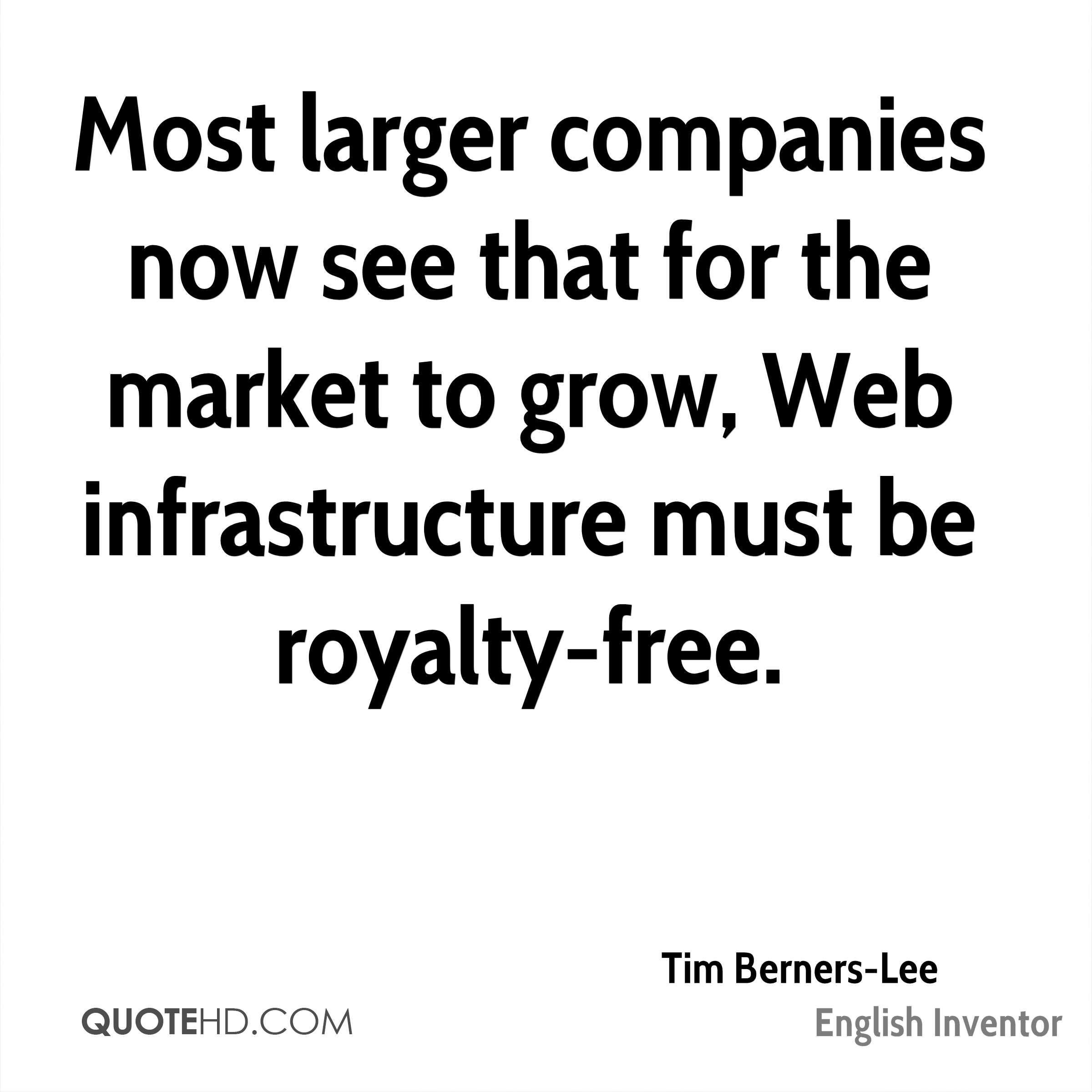 Most larger companies now see that for the market to grow, Web infrastructure must be royalty-free.