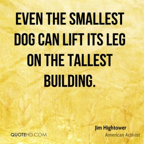 Even the smallest dog can lift its leg on the tallest building.