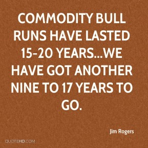 Commodity bull runs have lasted 15-20 years...We have got another nine to 17 years to go.