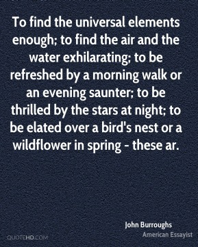 John Burroughs  - To find the universal elements enough; to find the air and the water exhilarating; to be refreshed by a morning walk or an evening saunter; to be thrilled by the stars at night; to be elated over a bird's nest or a wildflower in spring - these ar.