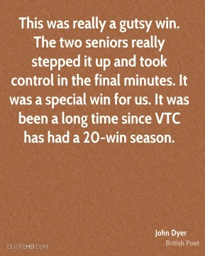 This was really a gutsy win. The two seniors really stepped it up and took control in the final minutes. It was a special win for us. It was been a long time since VTC has had a 20-win season.