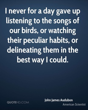 I never for a day gave up listening to the songs of our birds, or watching their peculiar habits, or delineating them in the best way I could.