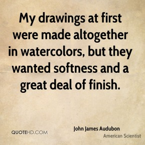 John James Audubon - My drawings at first were made altogether in watercolors, but they wanted softness and a great deal of finish.