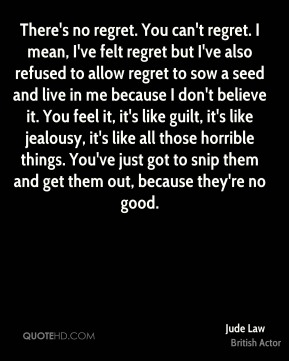 Jude Law - There's no regret. You can't regret. I mean, I've felt regret but I've also refused to allow regret to sow a seed and live in me because I don't believe it. You feel it, it's like guilt, it's like jealousy, it's like all those horrible things. You've just got to snip them and get them out, because they're no good.