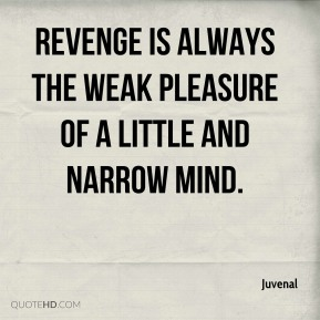 Revenge is always the weak pleasure of a little and narrow mind.