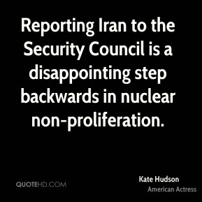Kate Hudson  - Reporting Iran to the Security Council is a disappointing step backwards in nuclear non-proliferation.