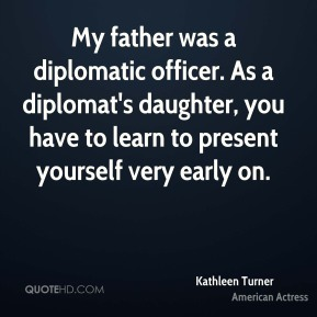 My father was a diplomatic officer. As a diplomat's daughter, you have to learn to present yourself very early on.
