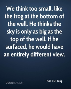 Mao Tse-Tung - We think too small, like the frog at the bottom of the well. He thinks the sky is only as big as the top of the well. If he surfaced, he would have an entirely different view.