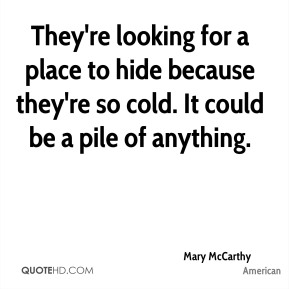 Mary McCarthy  - They're looking for a place to hide because they're so cold. It could be a pile of anything.
