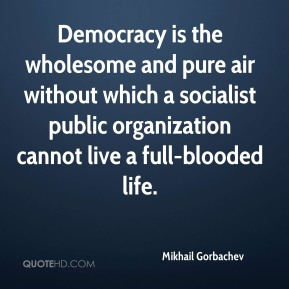 Democracy is the wholesome and pure air without which a socialist public organization cannot live a full-blooded life.