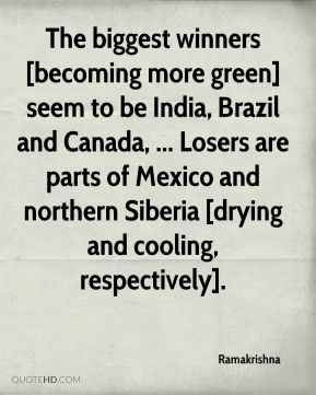 Ramakrishna  - The biggest winners [becoming more green] seem to be India, Brazil and Canada, ... Losers are parts of Mexico and northern Siberia [drying and cooling, respectively].