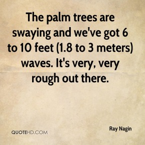 Ray Nagin  - The palm trees are swaying and we've got 6 to 10 feet (1.8 to 3 meters) waves. It's very, very rough out there.