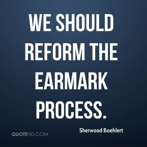 We should reform the earmark process.