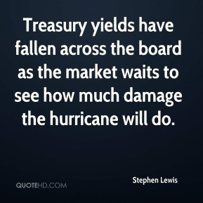 Treasury yields have fallen across the board as the market waits to see how much damage the hurricane will do.