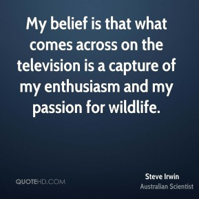 Steve Irwin - My belief is that what comes across on the television is a capture of my enthusiasm and my passion for wildlife.