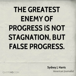 The greatest enemy of progress is not stagnation, but false progress.