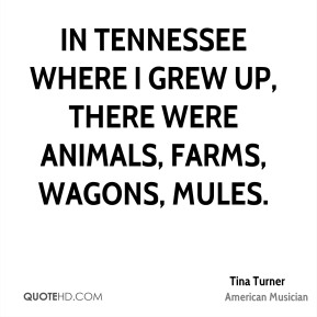 In Tennessee where I grew up, there were animals, farms, wagons, mules.